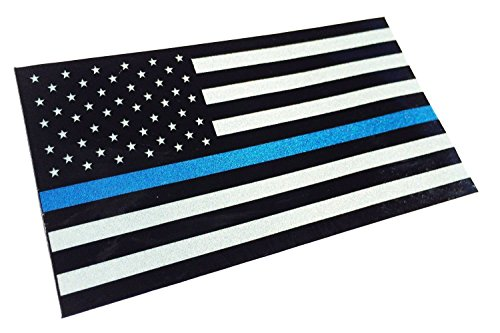 Small License Plate Thin Blue Line Reflective 2x1 Decal Sticker United States Us Flag Tactical Police Law Enforcement