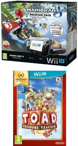 Nintendo Wii U - Consola Premium Pack Mario Kart 8 (Preinstalado) + Captain Toad (Físico): Amazon.es: Videojuegos
