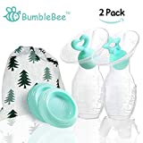 Bumblebee Manual Silicone Breast Pump Breastfeeding Collection milk Pump Blue Heart &Star Shape Silicone Stopper with lid in Box Food Grade Silicone Breast Pump (2PACK)