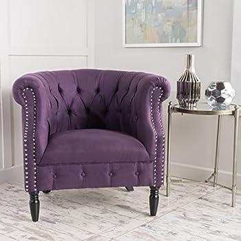 Jasmine Tufted Scroll Arm Fabric Club Chair (Plum)