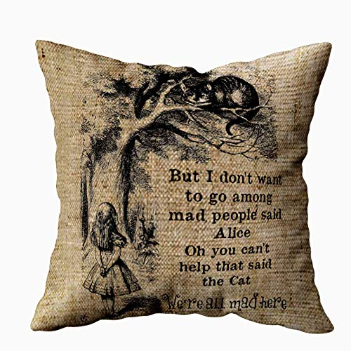 Musesh alice in wonderland cheshire cat with alice accent Cushions Case Throw Pillow Cover For Sofa Home Decorative Pillowslip Gift Ideas Household Pillowcase Zippered Pillow Covers 18X18Inch]()