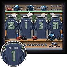 Seattle Seahawks Personalized NFL Football Locker Room Jersey Framed Art Print 13x16 Inches