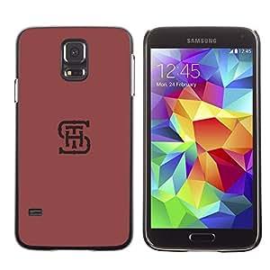 Be Good Phone Accessory // Dura Cáscara cubierta Protectora Caso Carcasa Funda de Protección para Samsung Galaxy S5 SM-G900 // S H T initials letters maroon red minimalist