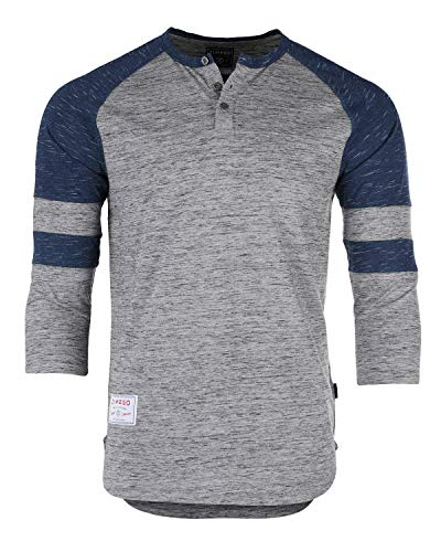 ZIMEGO Men's 3/4 Sleeve Baseball Football College Raglan Henley Athletic T Shirt Grey Navy