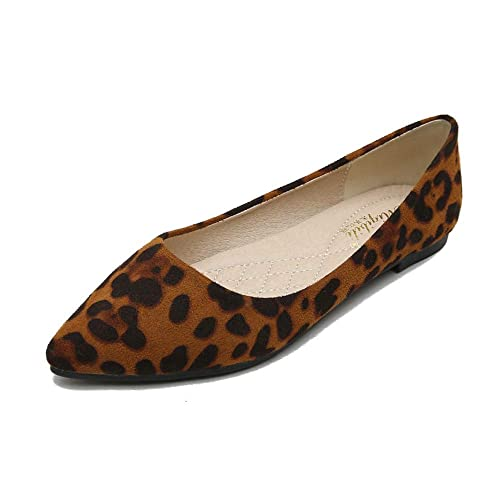 5a255722bbebb Stunner Women's Fashion Leopard Shallow Pointed Toe Flat Shoes