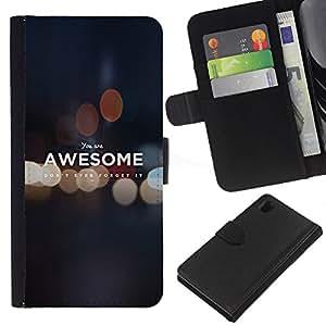 LECELL--Cuero de la tarjeta la carpeta del tirón Smartphone Slots Protección Holder For Sony Xperia Z1 L39 -- USTED ES IMPRESIONANTE DE MOTIVACIÓN --