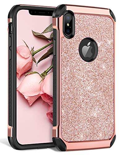 BENTOBEN iPhone Xs Max Case, iPhone Xs+ Bling Glitter Slim Shockproof Two Layer Protective Shiny Girl Women Faux Leather Full Body Soft Bumper Phone Cover for Apple iPhone Xs Max 6.5