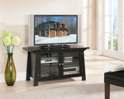 King's Brand Black Finish Wood TV Stand Entertainment Center With 2 Glass Doors