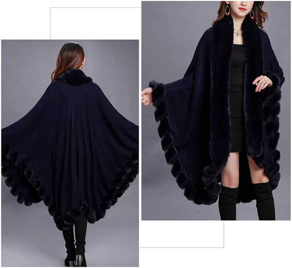 Autunno Inverno Capo Poncho di Spessore Faux Collo di Pelliccia di Volpe Mantello di Moda Grande Scialle Maglione Cappotto delle Donne