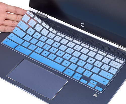 CaseBuy Keyboard Cover for HP Chromebook X360 14 inch Touchscreen, HP Chromebook 14-DA Series, HP Chromebook 14B-CA Series, HP Chromebook 14 Accessories, Ombre Blue