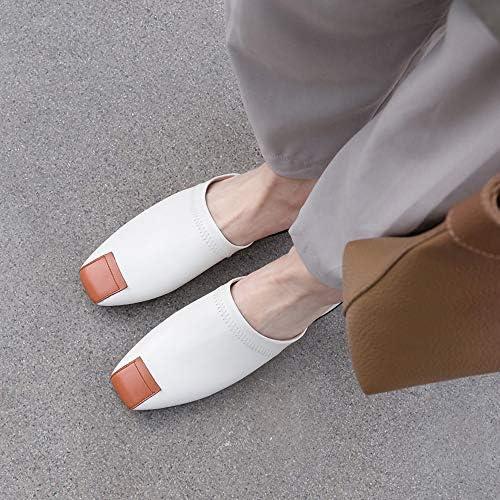 YNJK High-End Muller Sandals Color Matching Pelle Estate e Autunno, Square Head Tacco Basso Square con Selvaggia Scarpe Casual,Brown,6US  BfrhDS