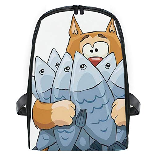 YOLIKA Children's School Bag Fat Cat Holding Bunch Of Dead Fish Hungry Starving But Not Enough Cartoon Kids Daypack Lightweight backpack