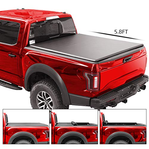 4XBEAM Roll Up Truck Bed Tonneau Cover | Fits Chevy Silverado/GMC Sierra 2007-2018 (5.8 ft Bed) | 5 Years Warranty