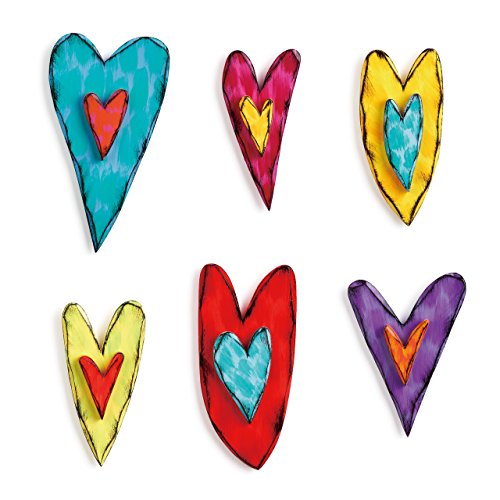 DEMDACO Heart Multicolored 10 x 6 Wood and Iron Metal Decorative Wall Art Signs Set of 6