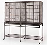 New Large Wrought Iron Double Cage w/ Slide Out Divider 3 Levels Bird Parrot Cage Cockatiel Conure Cage 61Length x 18Depth x 56Height W/Stand on WheelsBlack Vein Larger Image