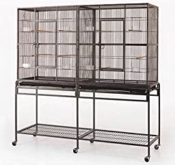 New Large Wrought Iron Double Cage w/ Slide Out Divider 3 Levels Bird Parrot Cage Cockatiel Conure Cage 61\