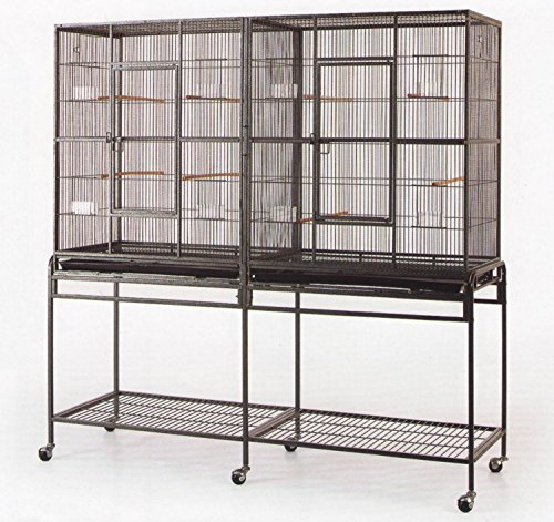 New-Large-Wrought-Iron-Double-Cage-w-Slide-Out-Divider-3-Levels-Bird-Parrot-Cage-Cockatiel-Conure-Cage-61Length-x-18Depth-x-56Height-WStand-on-Wheels