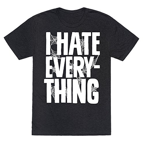 LookHUMAN I Hate Everything Heathered Black Large Mens/Unisex Fitted Triblend Tee