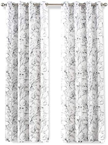 DriftAway Ryan Sketch Branch Leaves Blackout Room Darkening Grommet Lined Thermal Insulated Energy Saving Window Curtains 2 Layers 2 Panels Each 52 Inch by 96 Inch Black Line