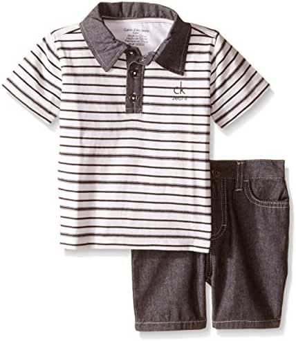 Calvin Klein Baby Boys' Yarn Dyed Stripe Jersey Polo Shirt and Chambray Shorts
