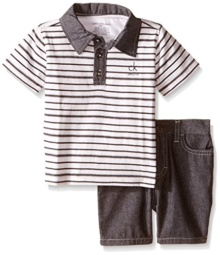 Calvin Klein Baby-Boys Yarn Dyed Stripe Jersey Polo Shirt and Chambray Shorts, Multi, 24 Months