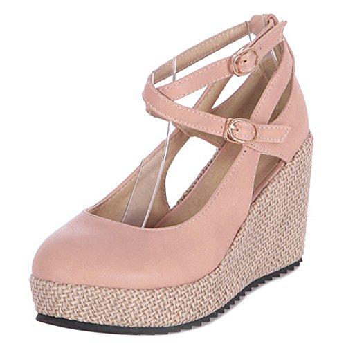 COOLCEPT Mujer Moda Criss Verano Boca Baja Zapatos Cerrado Tacon de Cuna Bombas Zapatos Rosado