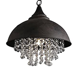 """Industrial Wrought Iron Vintage Retro Crystal Pendant Light - LITFAD Adjustable 14"""" Edison Metal Hanging Ceiling Light Chandelier with Hanging Crystal"""