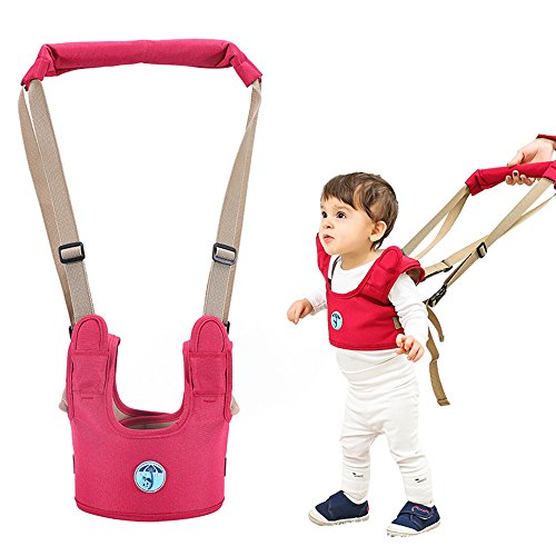 Casa Baby Walking Harness Toddler Walking Assistant Trainer Safe Stand Hand Held Walking Helper for Infant – Red