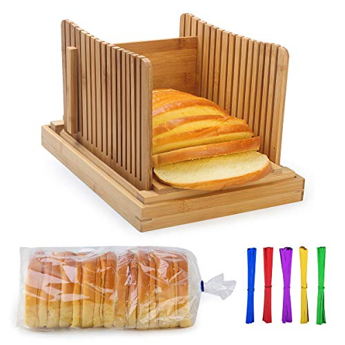 AKUNSZ Bamboo Bread Slicer Guide with Crumb Catcher + 100 Bread Bags & 100Twist Ties, Adjustable Bread Loaf Slicer Foldable Bread Cutter Slicer - Thickness Adjustable 1/4