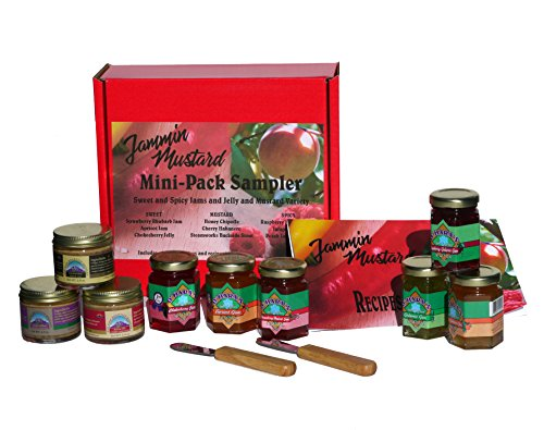 Sweet & Spicy Jams and Jellies and Specialty Mustard Variety Mini Sampler Gift Box