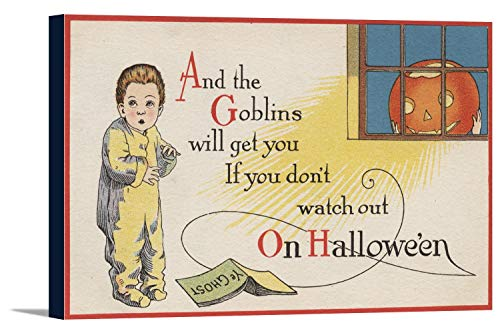Halloween Greeting - Goblin in Window (36x22 7/8 Gallery Wrapped Stretched Canvas)]()