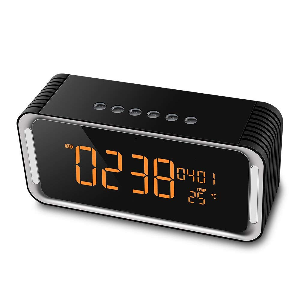 Bluetooth Wireless Speaker,Hi-fi Speaker,Alarm Clock Bluetooth Speaker with Stereo HD Sound, Hands-Free,FM Radio,Two Subwoofer,Time,Temperature,Snooze,Double Alarm Clock,Great for Traveling