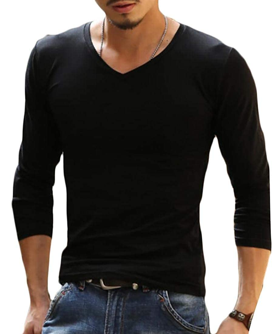Alion Mens Solid Color Long Sleeve V Neck Tee Shirts Polyester T-Shirt