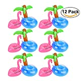 Flamingo Drink Holders, Outgeek 12 Pcs Palm Tree and Flamingo Cup Holder Floats Inflatable Floating Coasters for Pool Party Water Fun