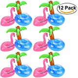 Flamingo Drink Holders, Outgeek 12 Pcs Palm Tree and Flamingo Cup Holder Floats Inflatable Floating Coasters for Pool Party Water Fun (Flamingo & Palm tree)