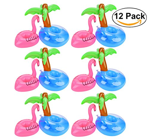 Inflatable Floating Pool (Flamingo Drink Holders, Outgeek 12 Pcs Palm Tree and Flamingo Cup Holder Floats Inflatable Floating Coasters for Pool Party Water Fun (Flamingo & Palm tree))