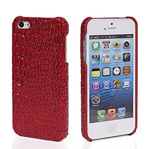 GETLAST Fashion Cool Crocodile Leather Hard Back Case Cover + Screen Protector For Apple Iphone 5 5S Red