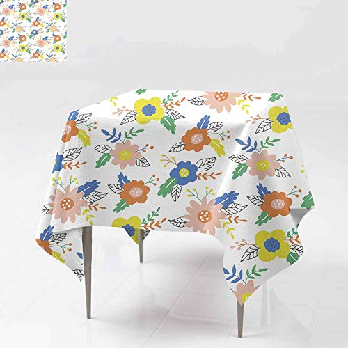 Resistant Table Cover,Seamless pattern with hand drawn flowers and leaves Can be used for wrapping paper wedding invitation wallpaper and textile Stain Resistant, Washable 54x54 Inch design Vec tor i]()