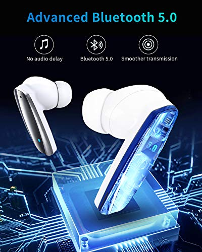 True Wireless Earbuds, IFECCO Bluetooth Headphones in-Ear with Microphone, Touch Control, USB C, DSP Noise Cancellation, Stereo Earphones for Running, Workout, Home, Android & iOS