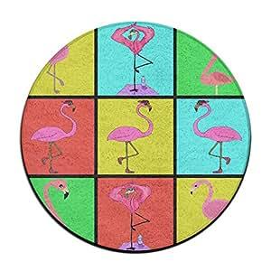 Flamencos Flamingo baile equipo antideslizante alfombrillas Circular alfombra alfombrillas comedor dormitorio alfombra Felpudo 23.6pulgadas