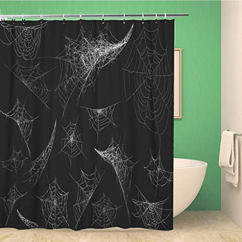 Awowee Bathroom Shower Curtain Collection of Cobweb Black Spiderweb for Halloween Spider Spooky 60x72 inches Waterproof Bath Curtain Set with Hooks