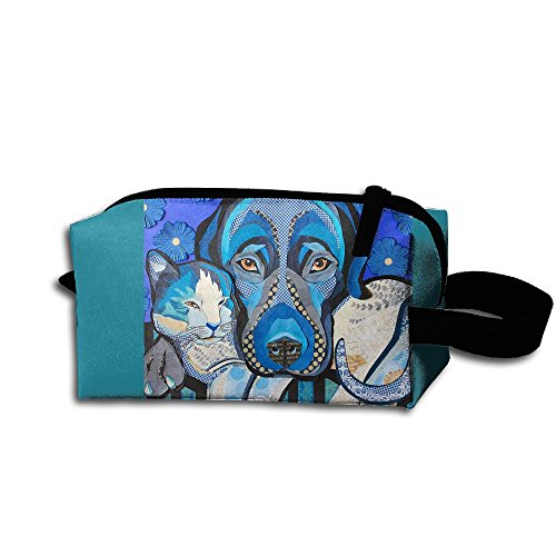 Makeup Cosmetic Bag Animal Dog Cat Zip Travel Portable Storage Pouch For Men Women by Huayaa