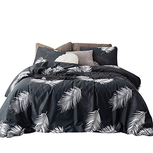 SUSYBAO 3 Pieces Duvet Cover Set 100% Cotton Queen Size White Leaf Bedding with Zipper Ties 1 Black Botanical Print Duvet Cover 2 Pillowcases Luxury Quality Soft Comfortable Lightweight Easy Care