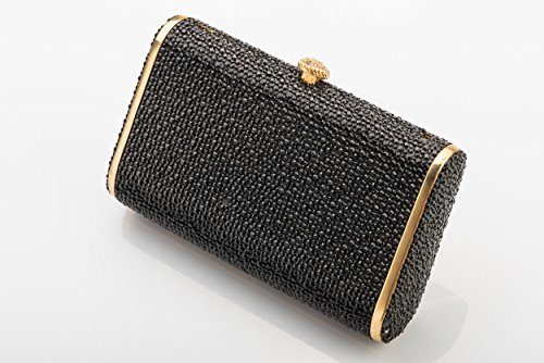Bag Women Ladies Girls Black Handbag Purse Shoulder Metal Crystals Rhinestones Evening