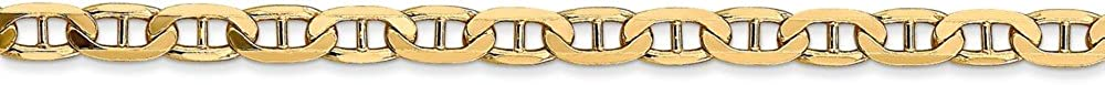 FB Jewels Solid 14K Yellow Gold 3.75mm Concave Anchor Chain