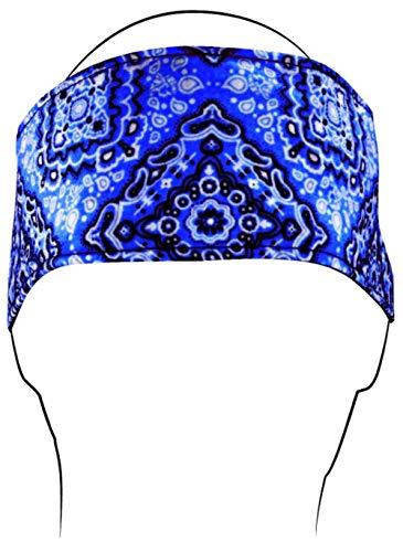 Zan Headgear Cotton Headband Navy Paisley (Blue, (Zan Cotton Headband)