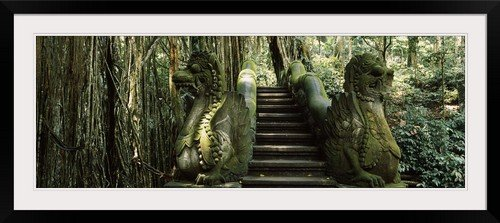 GreatBIGCanvas ''Statue of dragons in a temple, Bathing Temple, Ubud Monkey Forest, Ubud, Bali, Indonesia'' Photographic Print with Black Frame, 48'' x 17'' by greatBIGcanvas