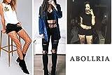 #5: Abollria Girls Ladies Fishnet Stockings Tights Pantyhose Black Red White One Size