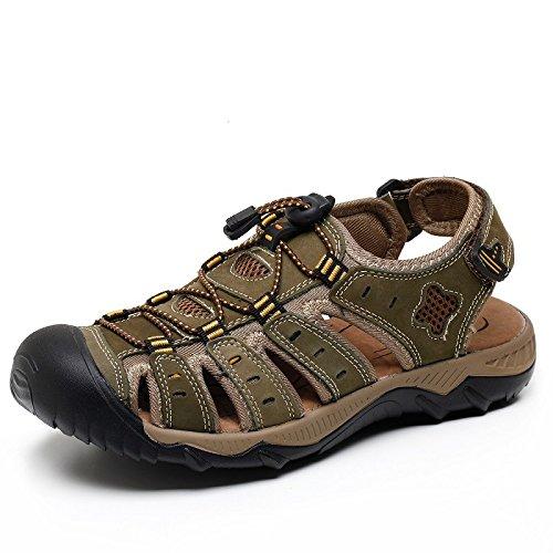 De para Punta Escalar Cuero Lightgreen Zapatos Aire Al Clásicas para con Playa Sandalias Zapatos Cerrada Hombres Libre para w7x4ZFqpv