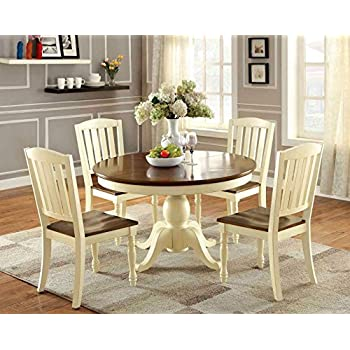 Furniture Of America Pauline 5 Piece Cottage Style Oval Dining Set